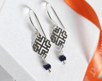 Lapis stone sterling silver dangle earrings gift for mother on birthday. Geometric silver charm blue earrings gift for teacher anniversary