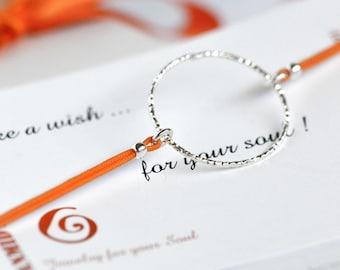 Orange cord silver circle bracelet gift for friend. Circle orange string silver charm wish adjustable  bracelet for best friend summer gift.