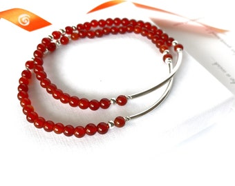 Two red Carnelian dainty silver bracelets gift for Christmas, Gemstone sterling stretch friendship bracelet gift from daughter, for mother
