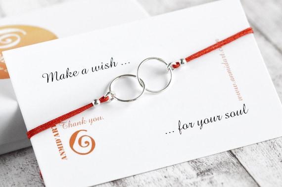 Sterling Bracelet Friendship Bracelet Red Bracelet Wishes Bracelet Wish Bracelet Love Bracelet Lucky Silver Bracelet ANMIdART