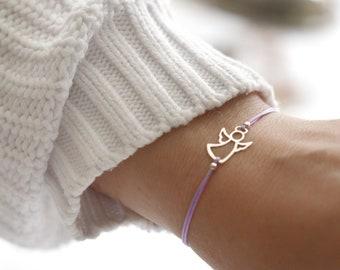Purple angel charm friendship bracelet gift from mother.  Violet adjustable tiny sterling bracelet gift for daughter on her birthday.