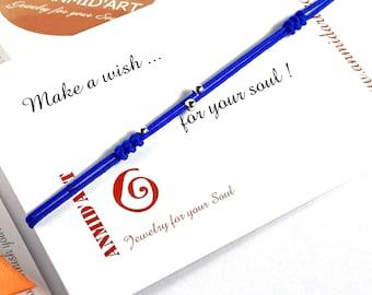 Blue string friendship bracelet gift for long distance friend. Tiny sterling silver blue simple wish bracelet gift from best friend