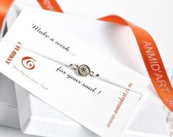 White string sterling silver rosette charm bracelet gift from mother on Christmas. Romanian rosette charm gift for daughter  on anniversary.