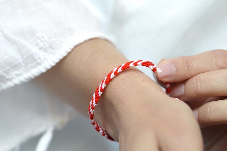 Wish Knotted Bracelet Martisor Red Braided Bracelet Red and White Braided Bracelet Red and White Bracelet Red Friendship bracelet