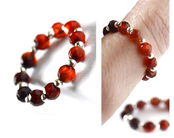 Red agate stretch bead ring Christmas gift for mother. Tiny 4mm faceted gradient red agate stones gift. Silver stacking ring natural stone