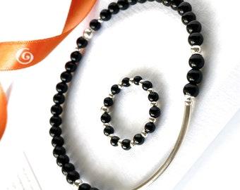 Black Onyx bracelet and ring set gift for mother, Black beaded ring dainty stackable bracelet gift for woman. Lucky onyx bracelet, ring gift