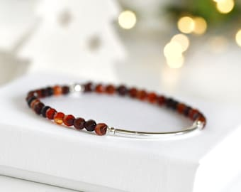 Red bracelet love Christmas gift for mother, Delicate stretch gradient faceted small beads, Friendship silver red Elastic Stacking Jewelry