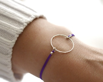 Purple cord sterling silver circle friendship bracelet gift for best sister. Circle purple string silver charm bracelet for Christmas gift