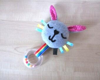 Happy Bunny Baby Toy, Sensory Tag Rattle Bunny Toy