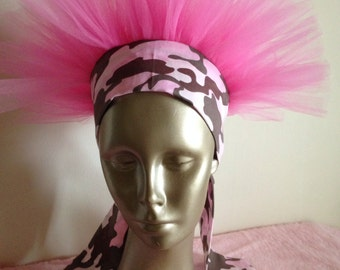 Pink Camo Breast Cancer Awareness Headband TuTu Crown