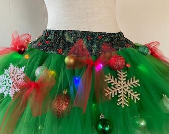 Adult Tutu Christmas Tree Decorated Light Up Tacky TuTu ugly sweater party green tutu