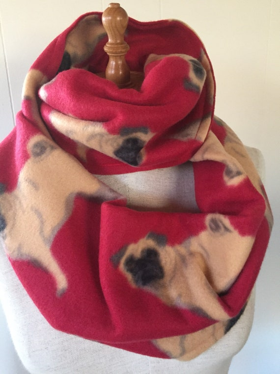 Pug Dog Infinity Scarf Made in USA by City Dogs