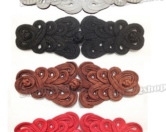 """or 4.25/"""" 6 or 12 Pairs Black Chinese Frog Closure Button Knot Fastener by 3.75/"""""""