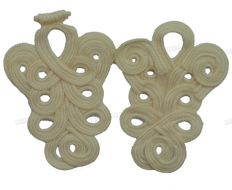 Extra large frog fasteners closure button  Beige Cream #12