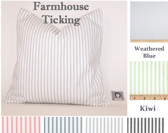 Baby Blue and White Ticking Stripe Pillow Cover, Toss Pillow, Euro Pillow, Couch Pillow, Throw Pillow, French Country, Farmhouse,Nursery
