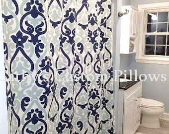 Custom Shower Curtain Alex Navy And Spa Stall Choose Size Buttonholes 72 X Extra Wide Or Narrow