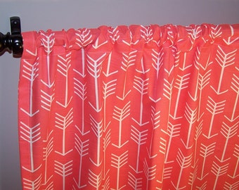 Coral Arrows CURTAINS Southwester WesternIndian Curtains Pair Drapery Panels24 Wide52 WideValance