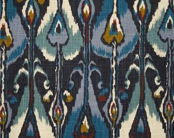 Blue Ikat Shower Curtains Robert Allen Bands Indigo Various Lengths Long Wide