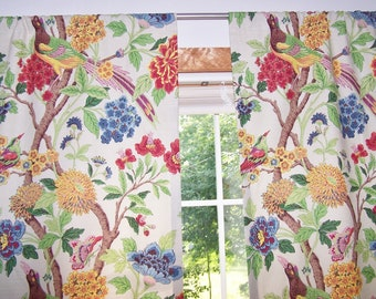 Cotton Curtains Richloom Wilma Summer Birds Whipporwills Choose Length Width Floral Curtain Panels