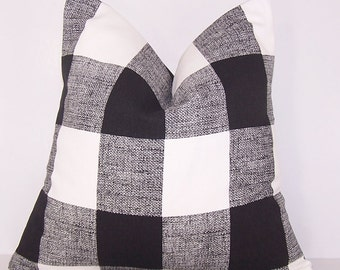 Awesome Black Check Pillow Toss Pillow Black Buffalo Check Pillow Etsy Short Links Chair Design For Home Short Linksinfo