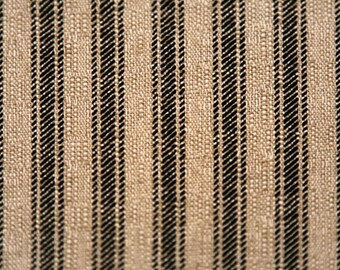 Stripe Linen Curtains Farmhouse Grain SackRustic Bedroom Living Room Kitchen Flax 24 Or 52 Wide Color Oatmeal Black