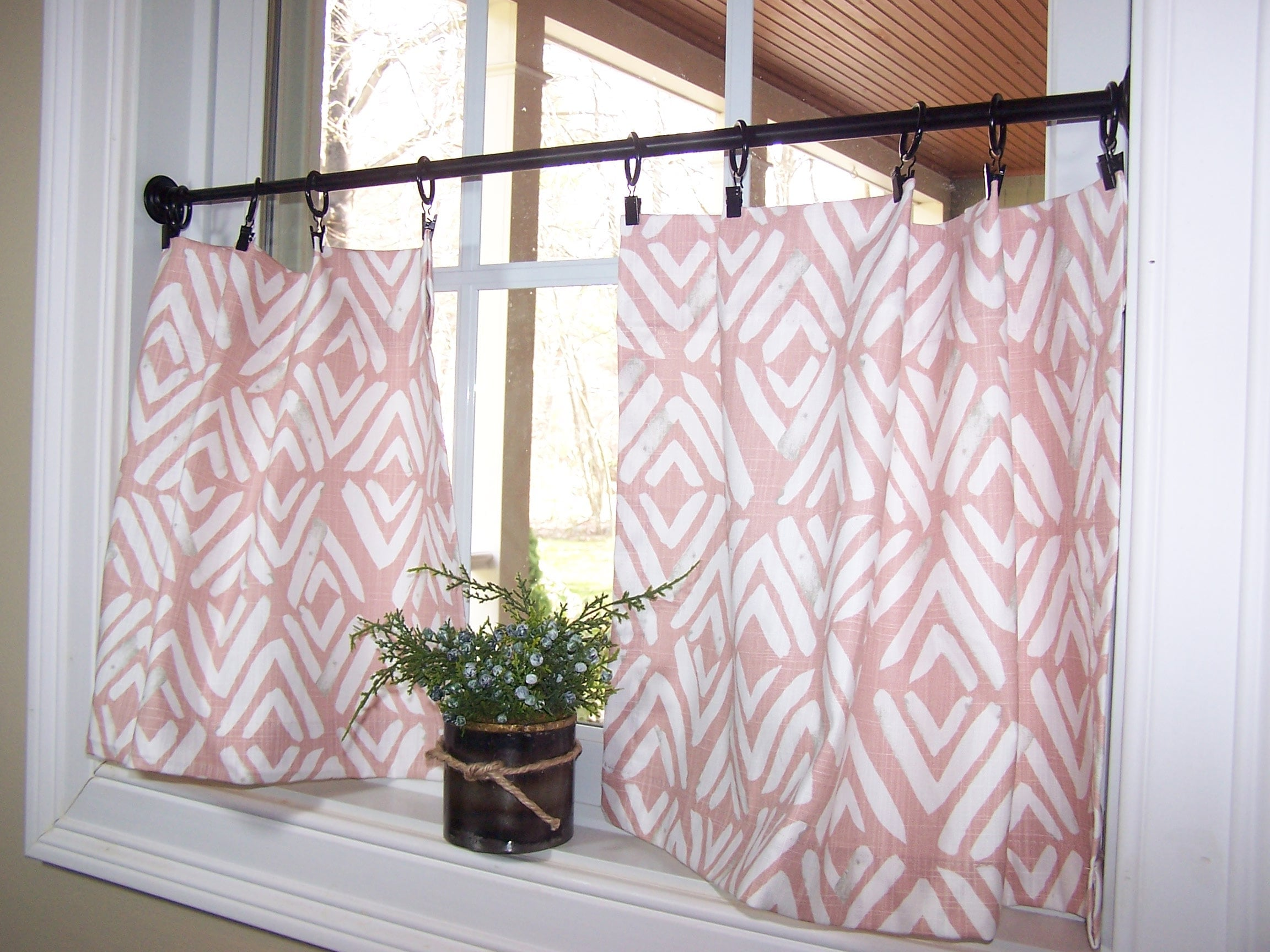 Blush Pink Curtains Cafe Curtains Tier Curtains Kitchen Etsy