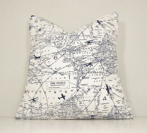 Map pillow cover world map planes traveltoss pillow navy etsy image 0 gumiabroncs Choice Image