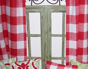 "RED CHECK CURTAINS,Large Check Curtains,Red Buffalo Check, Window, Buffalo Check,Pair Drapery Panels,24"" Wide,52"" Wide,Valance"
