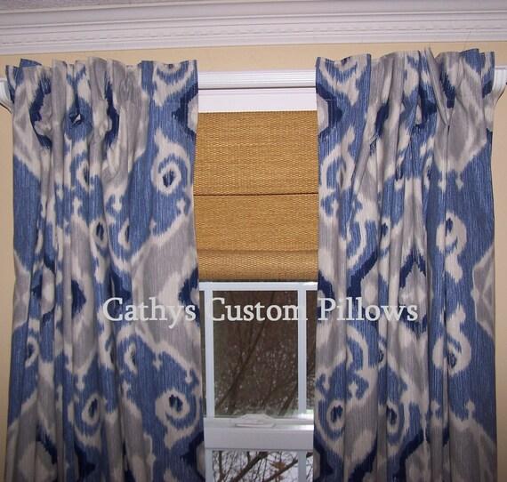 blau ikat vorh nge navy grau vorh nge marine vorh nge etsy. Black Bedroom Furniture Sets. Home Design Ideas