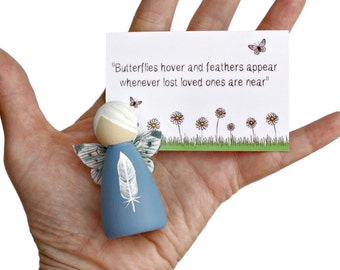 Blue Feather Fairy - Bereavement Fairy Gift - Memorial Gift - Memory Keepsake - Condolence Gift - Sympathy Gift for Family