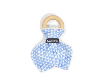 Wooden Teething Ring | Blue Triangle Teether | Boy Baby Teether | Boy Baby Gift | Geometric Teething Toy | Geometric Baby Gift