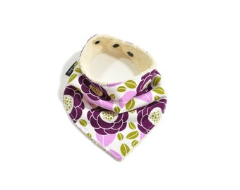 Purple Floral Bandana Bib | Purple Floral Baby Bib | Purple Bandana Bib | Purple Floral Bibdana | Purple Baby Shower Gift | Girl Baby Gift