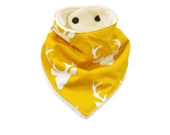 Yellow Deer Bandana Bib | Yellow Deer Bibdana | Yellow Deer Baby Bib | Yellow Deer Drool Bib | Yellow Buck Bib | Yellow Buck Bandana Bib