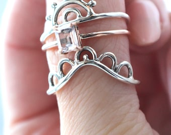 Alba boho Sterling Silver Curved Scalloped Stacking Ring