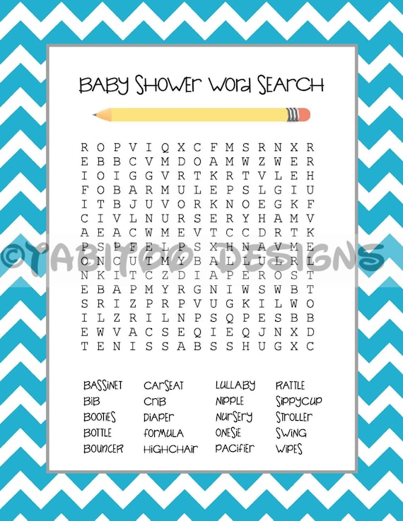 Baby Shower Word Search PRINTABLE | Etsy