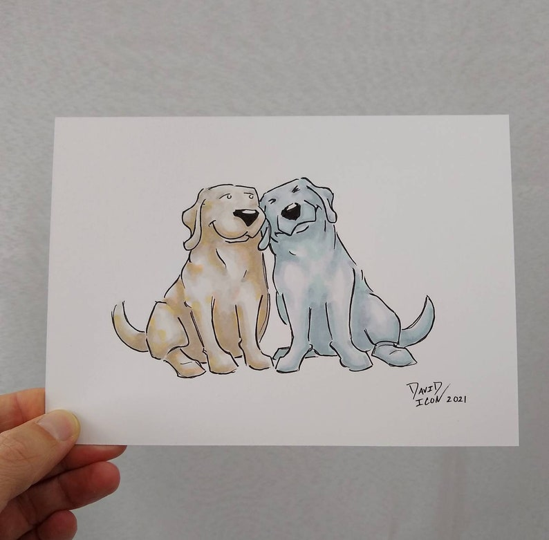 Original Sketch OOAK Marker Illustration on 5x7 Bristol Paper Puppy Dog Drawing Best Friends