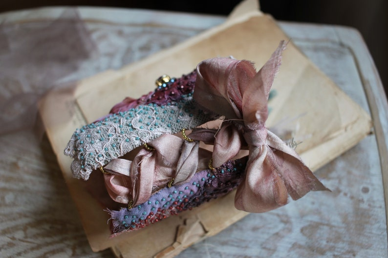 Wearable Textile art cuff bracelet Embroidered Victorian Lace cuff