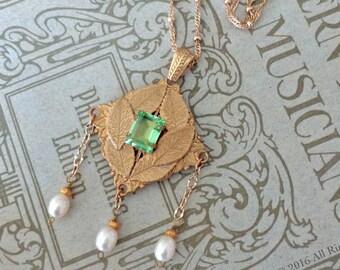 Zhaleh Necklace ~ Medieval, Renaissance, Elm leaves, Nature-inspired OOAK design