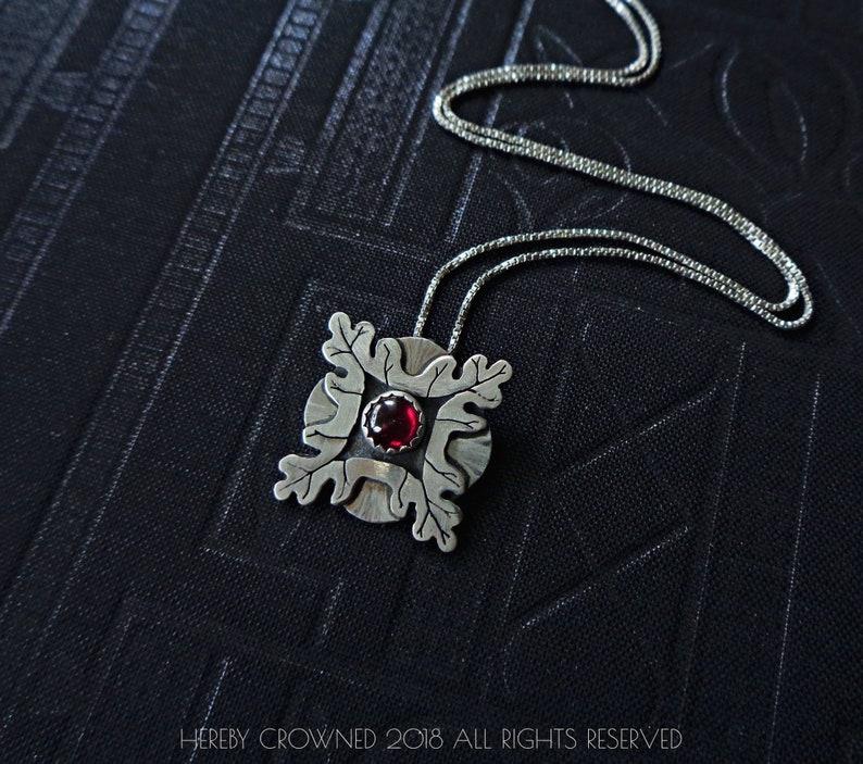 Oakwood Necklace - Sterling Silver and Garnet cabochon - hand sawed Art  Nouveau style oak leaf necklace - Historic Detroit Collection