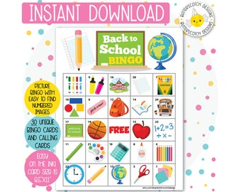 School Back To Printable Bingo Cards 30 Different