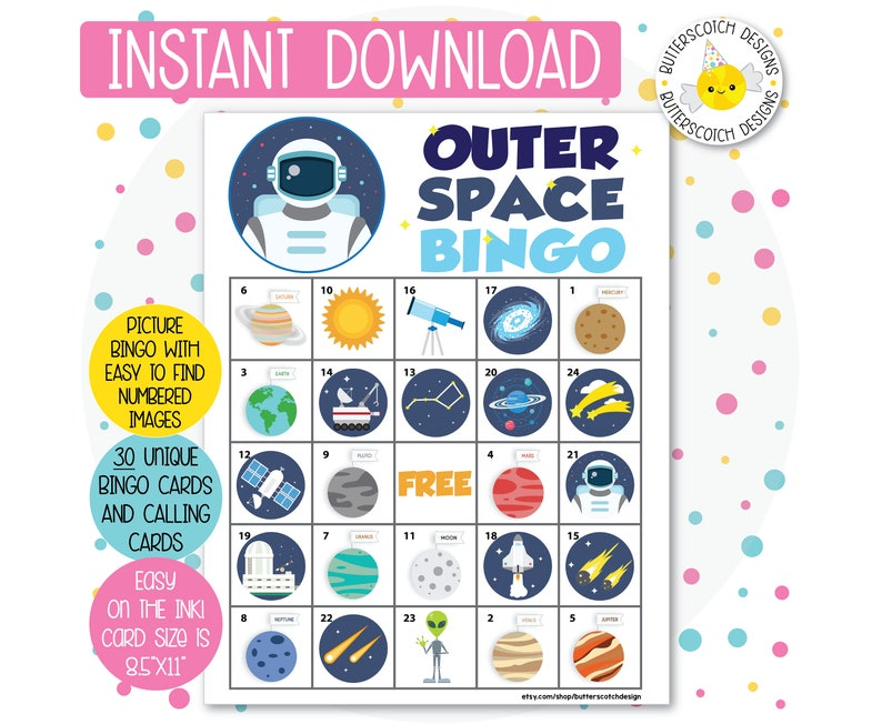 photo about Space Printable referred to as Outer Room Printable Bingo Playing cards (30 Alternative Playing cards) - Instantaneous Obtain