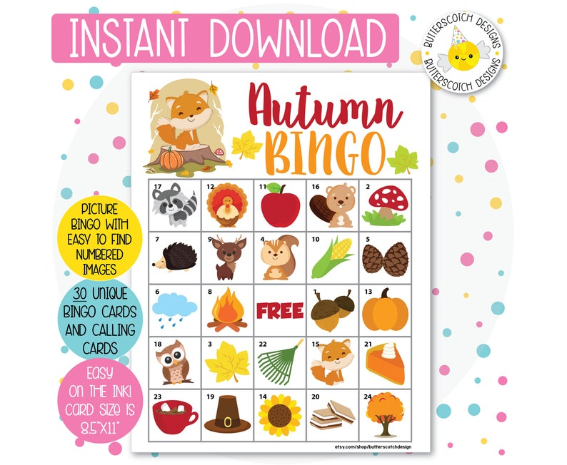 picture relating to Fall Bingo Printable known as Autumn / Slide Printable Bingo Playing cards (30 Option Playing cards) - Instantaneous Down load