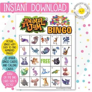 Instant Download 20 Different Cards Zoo Safari Animal Bingo Cards
