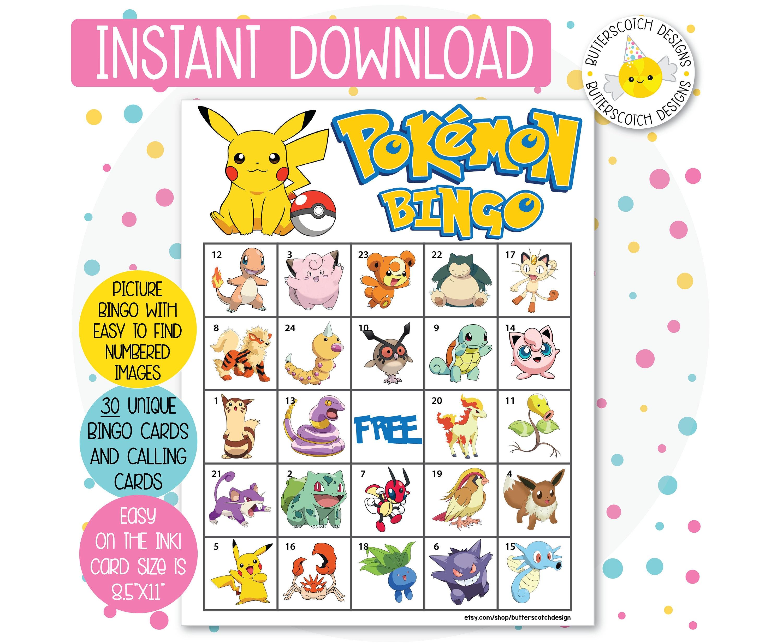 Pokemon Printable Bingo Cards 30 Different Instant