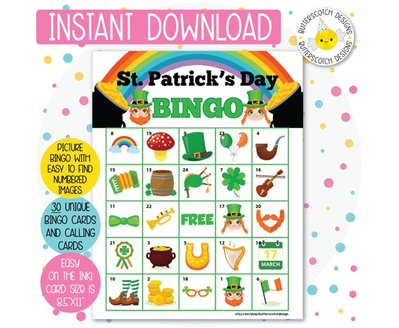 image relating to St Patrick's Day Bingo Printable called St. Patricks Working day Printable Bingo Playing cards (30 Option Playing cards) - Quick Obtain