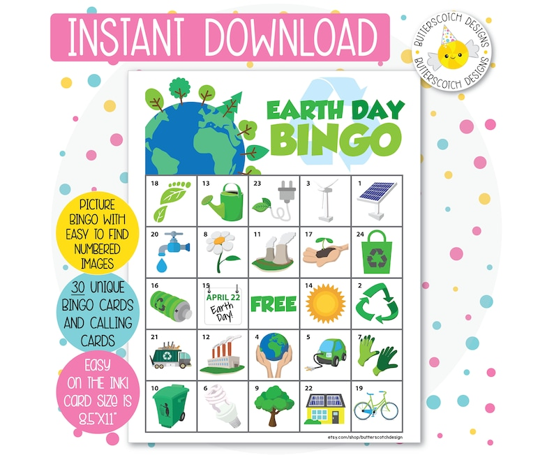 Earth Day Printable Bingo Cards 30 Different Cards Instant Etsy