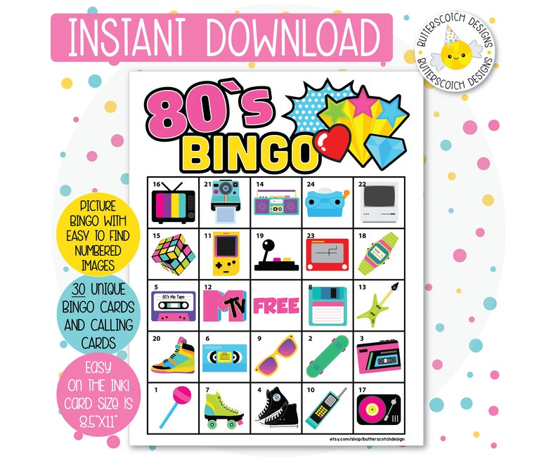picture regarding Printable Bingo Cards for Kids called 80s Retro Themed Printable Bingo Playing cards (30 Choice Playing cards) - Prompt Obtain