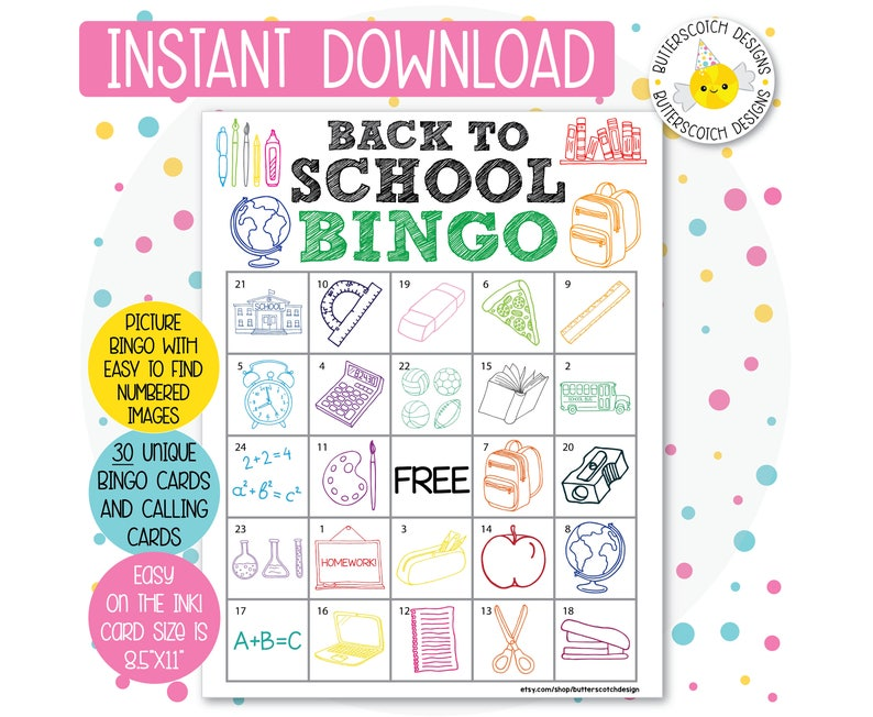 image about Back to School Bingo Printable named Back again in the direction of University Printable Bingo Playing cards (30 Substitute Playing cards) - Fast Obtain