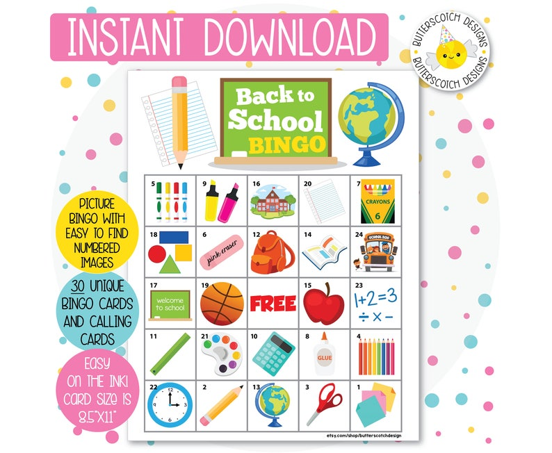 picture about Back to School Bingo Printable known as College / Again toward University Printable Bingo Playing cards (30 Substitute Playing cards) - Fast Down load
