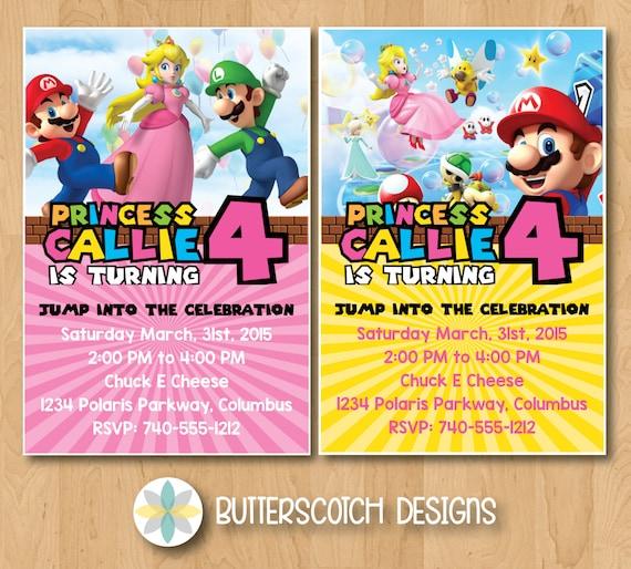 Super Mario Princess Peach Birthday Invitation Pick From 2